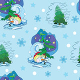 Vector Cute Snowmen Under Christmas Trees Seamless Royalty Free Stock Image