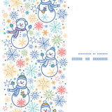 Vector cute snowmen vertical frame seamless Royalty Free Stock Image