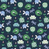 Vector cute swamp animals repeat pattern with frogs, crocodiles, fish and turtles on a dark blue background stock illustration