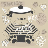 Vector cute teddy bear with paw Royalty Free Stock Image