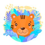 Vector cute tiger face in the jungle. For print on a T-shirt, a picture in the nursery. Illustration Royalty Free Stock Photo