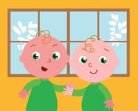 Vector cute twins stock photo
