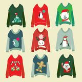 Ugly christmas sweaters set sweater party collection Stock Illustration