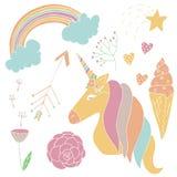Vector cute unicorn set in hand drawn style. stock illustration