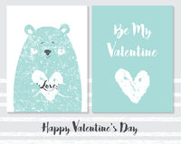 Vector of cute Valentines card templates. Be my Valentine Royalty Free Stock Images
