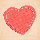 Vector cute vintage red heart Royalty Free Stock Images