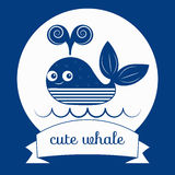 Vector cute whale Royalty Free Stock Photo