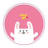 Vector cute white rabbit, cheer for you Royalty Free Stock Photography