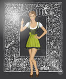 Vector Cute Woman In Drindl Against Love Background Royalty Free Stock Photography