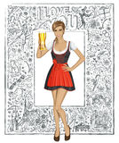 Vector Cute Woman In Drindl With Beer Against Love Background Stock Photography