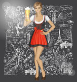 Vector Cute Woman In Drindl With Beer Against Love Background Stock Image