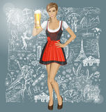Vector Cute Woman In Drindl With Beer Against Love Background Royalty Free Stock Photography