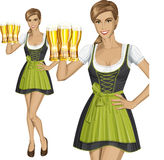 Vector Cute Woman In Drindl On Oktoberfest Stock Photos