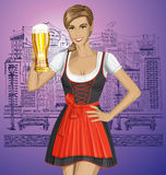 Vector Cute Woman In Drindl On Oktoberfest Royalty Free Stock Image