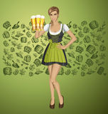 Vector Cute Woman In Drindl On Oktoberfest Stock Image
