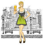 Vector Cute Woman In Drindl On Oktoberfest Royalty Free Stock Photos