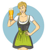 Vector Cute Woman In Drindl On Oktoberfest Stock Photography