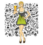 Vector Cute Woman In Drindl On Oktoberfest Stock Photography