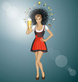 Vector Cute Woman In Drindl On Oktoberfest Royalty Free Stock Images