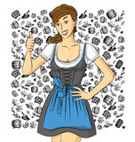 Vector Cute Woman In Drindl On Oktoberfest Stock Images
