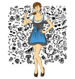 Vector Cute Woman In Drindl On Oktoberfest Royalty Free Stock Photography