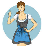Vector Cute Woman In Drindl On Oktoberfest Stock Photo