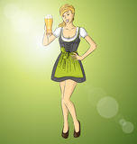 Vector Cute Woman On Oktoberfest Stock Image