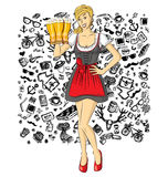 Vector Cute Woman On Oktoberfest Stock Images