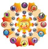 Vector,Cute Zodiac Wheel Stock Photos