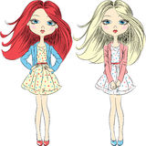 Vector cutel fashion girls  in summer dress Royalty Free Stock Images