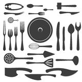 Vector cutlery black silhouettes Royalty Free Stock Photography