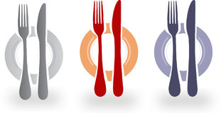 Illustration of cutlery and plate. In three colors, gray, red and blue Royalty Free Stock Image