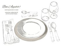 Vector cutlery set: forks, knive, spoons, empty plate. Table setting. Vector Festive cutlery set: forks, knives, spoons, empty plate on cloth napkin. Top view Stock Photo