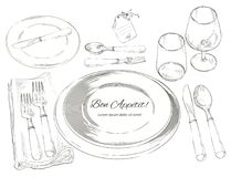 Vector cutlery set: forks, knive, spoons, empty plate. Table setting. Vector Festive cutlery set: forks, knives, spoons, empty plate on cloth napkin. Top view Stock Images