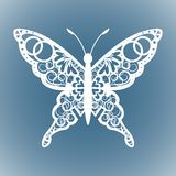 Vector cutout butterfly, Laser cutting wedding place card, Decorative card. paper white. stock illustration