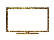 Vector cutout golden glitter of isolated OLED black flat smart w Royalty Free Stock Image