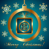 Vector Cyan Gold Decorative Christmas Greeting Stock Image