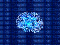 Vector Cyber Mind Illustration, Binary Code Background and Glowing Brain, Matrix Data Backdrop. Vector Cyber Mind Illustration, Binary Code Background and vector illustration