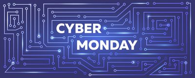 Vector Cyber monday banner with printed circuit board imitation. Royalty Free Stock Photos