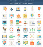 Vector Cyber security flat icon set. Elegant style design. Stock Image