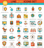 Vector Cyber security flat line icon set. Modern elegant style design for web. stock illustration