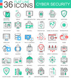 Vector Cyber security modern color flat line outline icons for apps and web design. Royalty Free Stock Photos