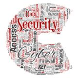 Vector cyber security online access technology. Vector conceptual cyber security online access technology letter font C word cloud isolated background. Collage Stock Image