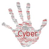 Vector cyber security online access technology. Vector conceptual cyber security online access technology hand print stamp word cloud isolated background Royalty Free Stock Images
