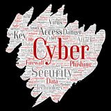Vector cyber security online access technology. Vector conceptual cyber security online access technology paint brush paper word cloud  background. Collage of Royalty Free Stock Images