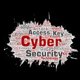 Vector cyber security online access technology. Vector conceptual cyber security online access technology paint brush paper word cloud isolated background Royalty Free Stock Photo