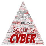 Vector cyber security online access technology. Vector conceptual cyber security online access technology triangle arrow word cloud isolated background. Collage Stock Image