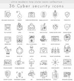 Vector Cyber security technology ultra modern outline line icons for web and apps. Royalty Free Stock Photos