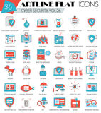 Vector Cyber security ultra modern outline artline flat line icons for web and apps. Royalty Free Stock Photos