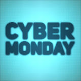 Vector Cybermontag-Verkaufshintergrund mit glänzenden Punkten Vector Illustration auf unscharfem Hintergrund der blauen und cyan- Lizenzfreies Stockfoto